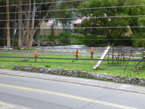 Once a month the city sends workers to clean up the park